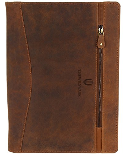 Luxury Business Portfolio Leather Padfolio | File Folder Sale Gift for Him Her Men Women | Zipper Pouch on Top |