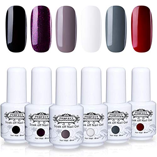(Perfect Summer Nail Gel Polish - 6PCS Classic Color Red Glitter Purple White Black Grey Gel Varnish Soak Off Gel Polish UV LED Manicure Nail Starter Kit Gift Set 8ML 022)