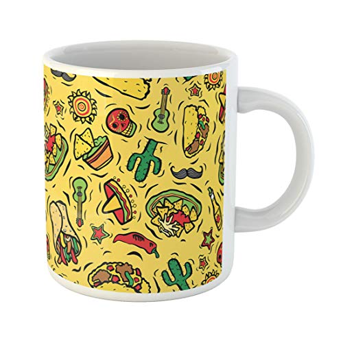 Semtomn Funny Coffee Mug Colorful Taco Super Mexican Food and Red Pattern Dip 11 Oz Ceramic Coffee Mugs Tea Cup Best Gift Or Souvenir]()