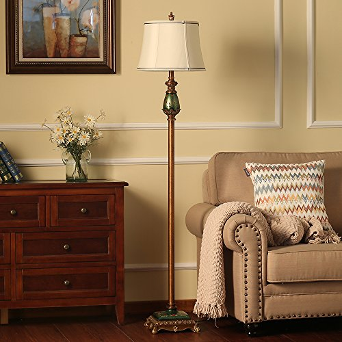 LampRight Classic European Country Style Hand Painted Retro Floor Lamp 64 inch - Traditional Elegant Delicate Resin Base, Unique Artistic Hand Painted Body and Original Fashion Fabric Lampshade by Lamp Right (Image #5)