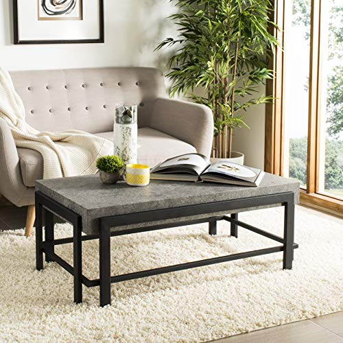 Safavieh COF7006A Home Collection Oliver Dark Grey and Black Rectangular Contemporary Coffee Table,