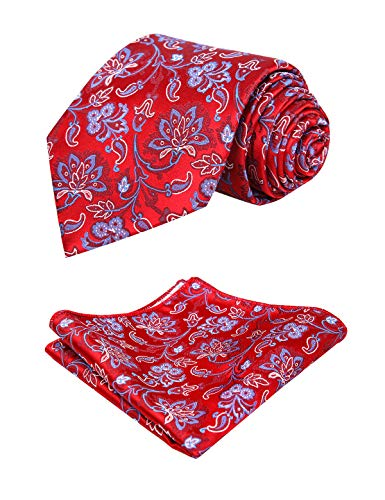 Alizeal Mens Floral Pattern Tie and Handkerchief Set, Wine Red+Blue