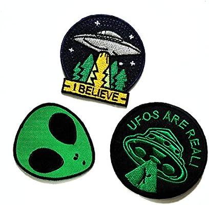 nipitshop parches Pack de 3 – verde Alien parche de fantasía naves espaciales Cartoon Kid parche apliques para planchar parche para ropa Mochilas chalecos de camiseta pantalones vaqueros falda bufanda sombrero bolsa:
