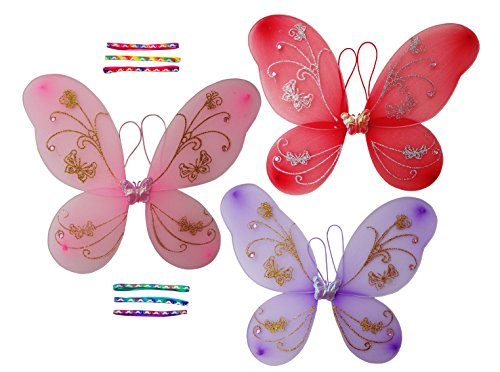 [Top 6 Pack Large Purple Pink Fairy Party Princess Sparkle Butterfly Wings Halloween Dress Up Multi with Headbands Costume Little Girl Favor School Pretend Play Holiday Stocking Stuffer Present] (Little Zebra Girls Costumes)
