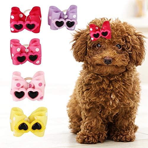25 Stks Huisdier Strik Haar Touw Hond Kat Boog Rubberen Band Strik Haarelastiekjes Huisdierverzorging Hoofddeksels Haarelastiekjes Accessoires Voor Puppy Teddy Kitty Met Lang Haar