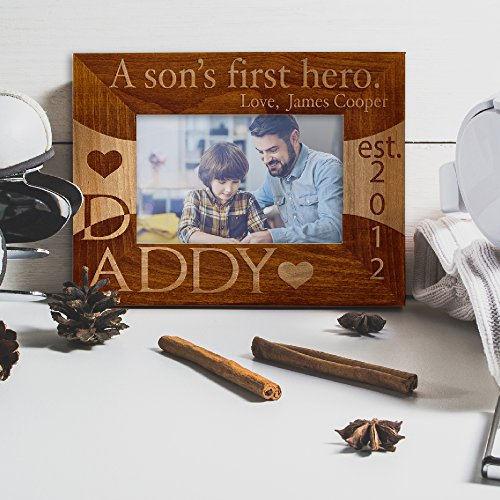 (Personlized Father's Day Gift Picture Frame Alder Wood Best Dad Ever Customized A Son's First Hero)