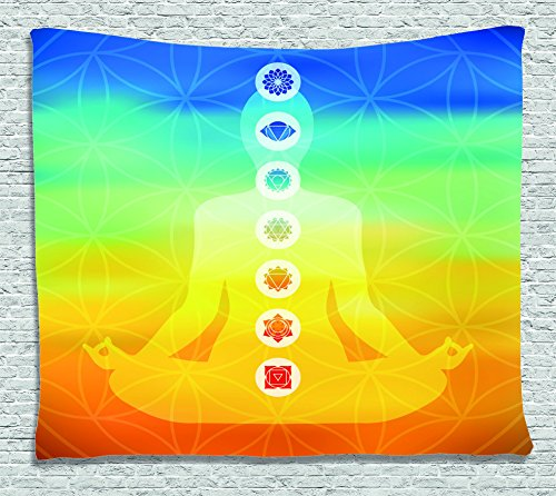 Colored Tapestry (Chakra Decor Tapestry by Ambesonne, Gradient Colored Digital Female Human Body with Central Sacred Chakra Points Design, Wall Hanging for Bedroom Living Room Dorm, 60 W X 40 L Inches, Multi)