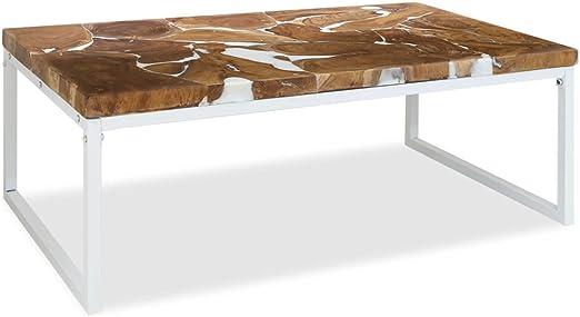 binzhoueushopping Table Basse Teck Résine Table d\'appoint ...