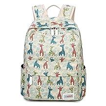 Cute Deer Canvas Backpack Laptop Rucksack for Junior Grade School Kids Girls