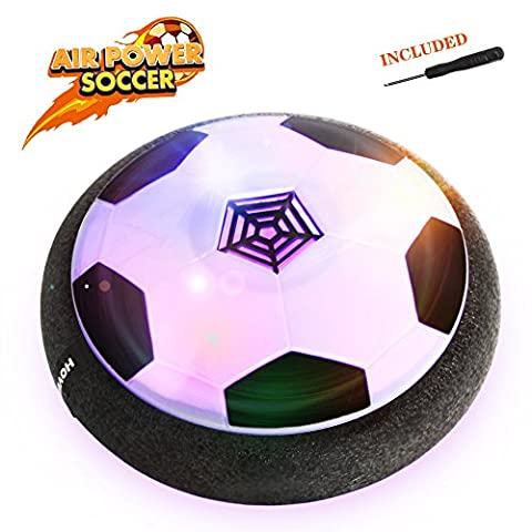 EpochAir Hover Ball, Girl Boy Toys, Hockey Football 2-in-1 Floating Girl Boy Gifts with Reinforced Battery Cover, Mini Screwdriver, Foam Bumpers and Colorful LED Light for Indoor & Outdoor - Power Air Hockey