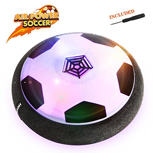 EpochAir Hover Ball, Kid Toys, Girl and Boy Gifts, Hockey Soccer 2-in-1 Pneumatic Suspension Floating with Foam Bumpers and Colorful LED Lights for Indoor & Outdoor Games, Mini Screwdriver (Toys For 3 Yr Old Boy)