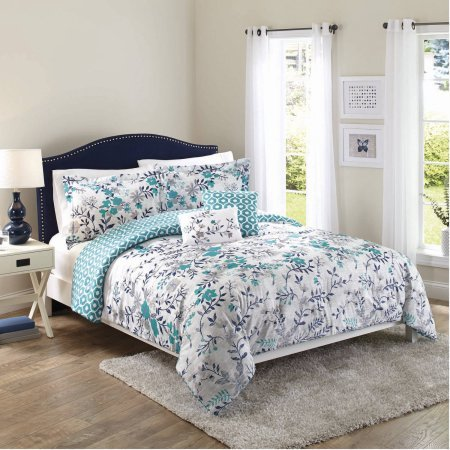 Better Homes and Gardens Teal Flowers, 5-Piece Set, Full Queen