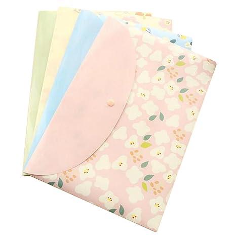 Wicemoon 4pcs Bolso A4 Para Documentos Estuche Para Archivos Con Impresión Floral Bolso Archivador Material de