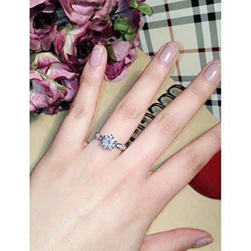 Anillo chapado en oro rosa de 18 K con 9 incrustaciones de cristal de RedFly, anillo de boda, anillo de compromiso, anillo de regalo
