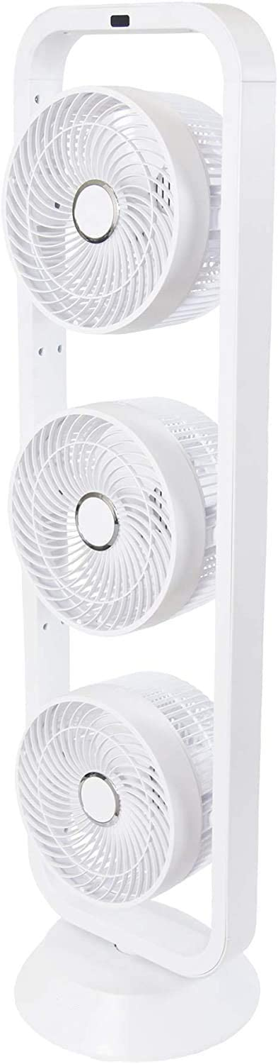 WUAZ Oscillating Tower Air Circulator Fan, 3 Independently Adjustable Fan Heads, 3 Breeze Modes,with Sleep-Timer Funktion for Home, Office, Bedroom.