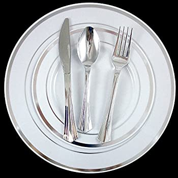 Amazon.com: 240 Bulk Dinner Wedding Disposable Plastic Plates ...
