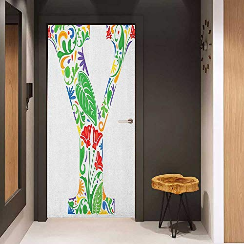 - Toilet Door Sticker Letter Y Seasonal Inspirations Capital Writing Symbols Word with Arabesque Ceramic Effects Glass Film for Home Office W35.4 x H78.7 Multicolor