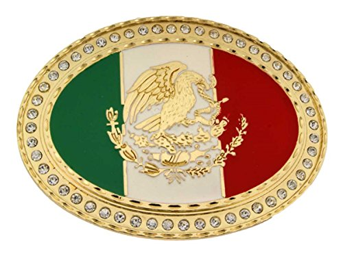 Mexico Oval Flag Mexican Nation Country Belt Buckle New Bling Gold Crystals.