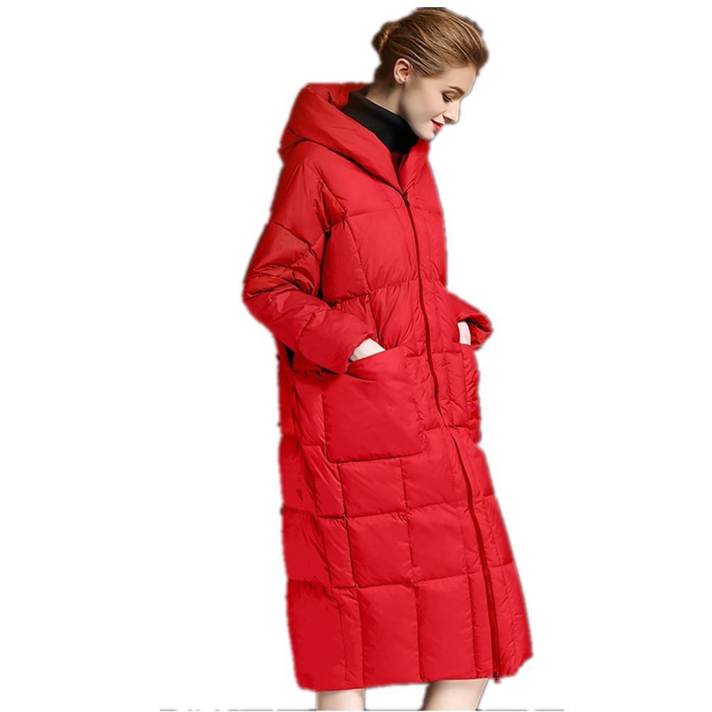 SHISHANG Lady Down chaqueta engrosamiento con capucha abajo pato blanco largo abajo chaqueta abajo c...