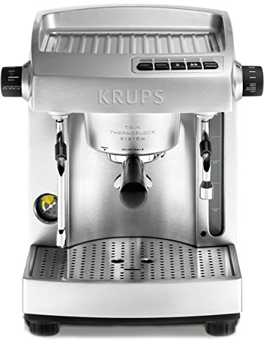 KRUPS XP6180 Full Stainless Steel Twin Thermo Block Professional Espresso Machine, Silver
