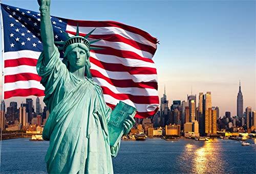 Leowefowa 7X5FT Vinyl Backdrop American Flag Statue of Liberty Photography Background New York City Scene Children Kids Adults Portraits Backdrop 2.2(W) X1.5(H) M Photo Studio Prop