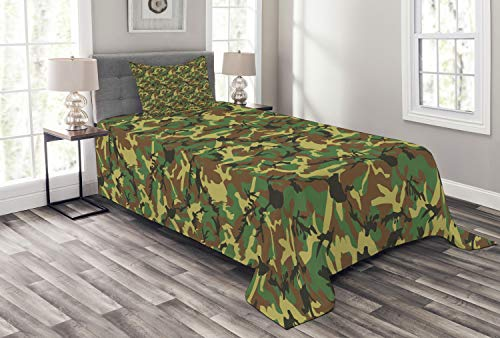 Woodland Camouflage Accents - Ambesonne Camo Bedspread Set Twin Size, Woodland Camouflage Pattern Abstract Concealment Hiding in Jungle, Decorative Quilted 2 Piece Coverlet Set with Pillow Sham, Green Brown