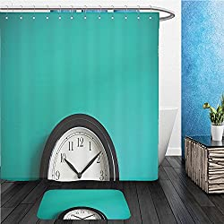 Beshowereb Bath Suit: ShowerCurtian & Doormat clock on mint green wall background vintage effect concept of time 316548389