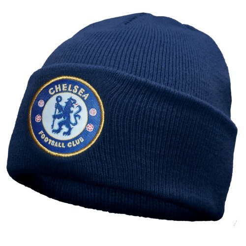 (Chelsea FC Official Football Gift Knitted Bronx Beanie Hat Navy)