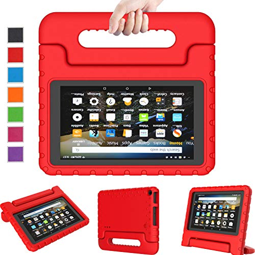 LTROP Kids Case for Amazon Kindle Fire 7 2019 (9th Gen, 2019 Release) - Light Weight Shock Proof Convertible Handle Stand Kid-Proof Case for All-New Fire 7 Tablet (9th Generation, 2019 Release) - Red