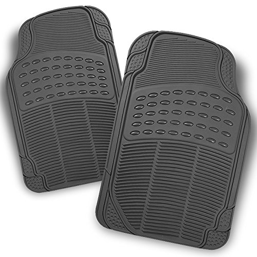 All Weather Heavy Duty Rubber Semi Pattern Grey Car Interior Front Floor Mats 2 Pieces Set Liner (Mats Front 2 Piece Auto)