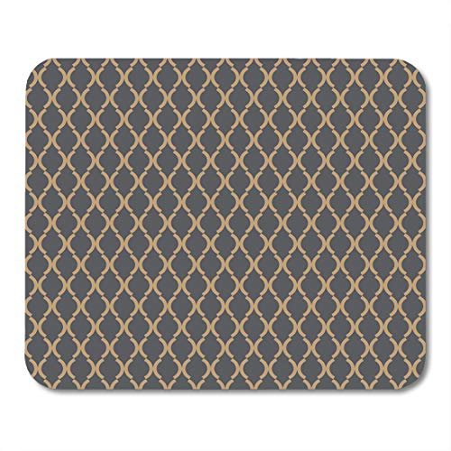 Gold Curves Link (Emvency Mouse Pads Yellow Antique Pattern Antiquity Arabesque Curve Geometric Gold Mouse pad 9.5