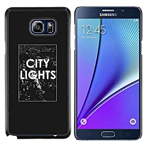 LECELL--Funda protectora / Cubierta / Piel For Samsung Galaxy Note 5 5th N9200 -- texto luces de la ciudad el cartel blanco negro NYC --