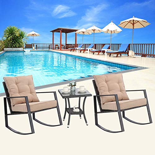M&S 3 Pieces Rocking Chair Outdoor Patio Bistro Sets Rattan Wicker with Thick Cushions and C ...