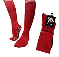Pilates, Yoga, Barre. Anti-slip/Non-slip Grip Socks, Falls Prevention. Sox (Maroon / White LONG)