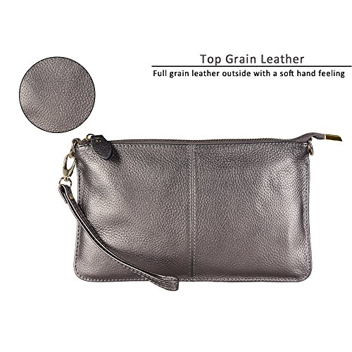 Wristlet Soft Silver Smartphone 5 Smartphone up Inch Crossbody Leather Wrist Crossbody Women's Genuine Wallet with Antique 5 to Leather strap for Silver Feel Purse A Strap Befen Clutch 0w4fq15X