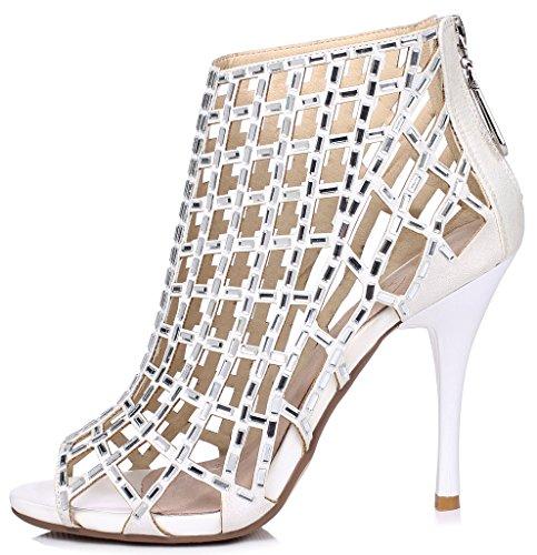 outlet original shop LizForm Women Cutout Sandal Boots Open Toe Stiletto Sandals Back Zipper Dress Shoes High Heels Boots White4 low price huge surprise discount pre order SxhC6rvfqu