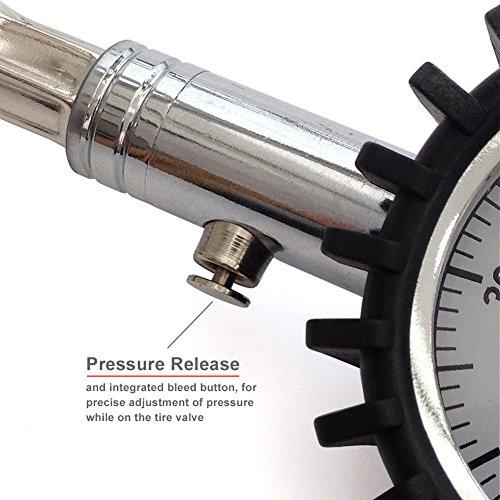TireTek Flexi-Pro Tire Pressure Gauge, Heavy Duty Car & Motorcycle - 60 PSI (Right Angle & Straight Chucks)