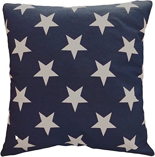 (Leaveland Printed White Navy Star 18x18 Inch Cotton Linen Square Throw Pillow Case Decorative Durable Cushion Slipcover Home Decor Sofa Standard Size Accent Pillowcase Encasement)