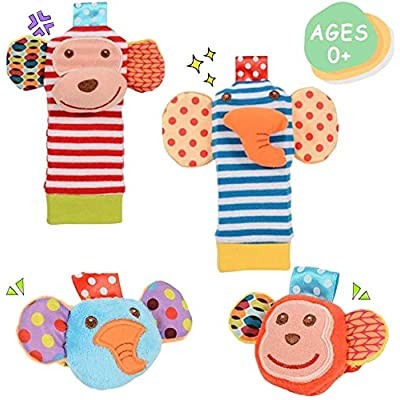 Cute Animal Wrist and Foot Rattles Finder Socks Set for Infant Baby: Toys & Games