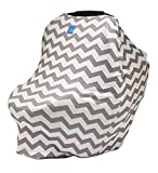 Org Store Premium Stretchy Car Seat Cover Canopy | Nursing Cover for Breastfeeding Moms | Grocery Cart & Highchair Cover (Gray Chevron)