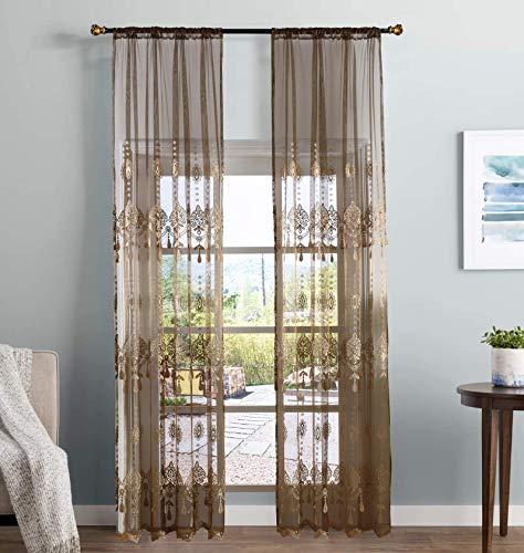 (Aside Bside Elegance Sheer Curtains Floral Embroidered Rod Pocket Transparent Treatment Drapers for Living Room & Bedroom(1 Panel, W 50 x L 95 inch, Brown) -X0635C1FFDBN75095-8507)