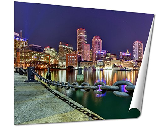 Ashley Giclee Fine Art Print, Boston Skyline At Night, 16x20, - Boston Downtown Where Is