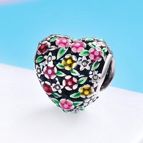 BAMOER 925 Sterling Silver Heart Charm Bead Love Charm Fit for Snake Chain Bracelet Spring Flower Charm by BAMOER (Image #2)