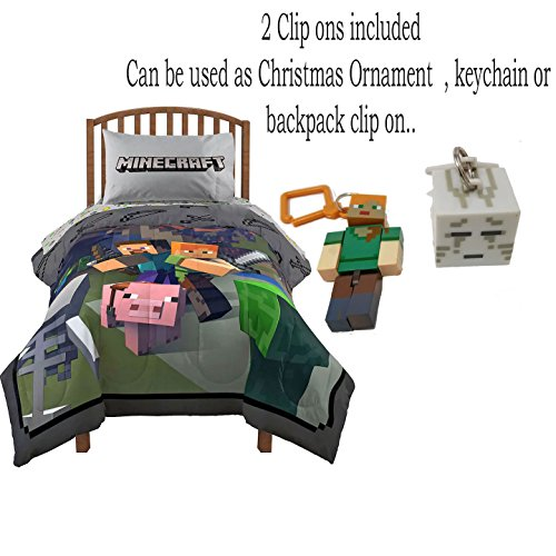 Minecraft Twin Bedding Bed in a Bag Comforter and Sheet Set with Minecraft Keychain / Christmas Ornament (Twin) by Mojang