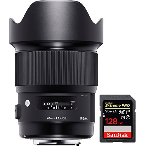 Sigma 20mm F1.4 Art DG HSM Wide Angle Lens for Canon Full-frame DSLR Cameras (412-954) with Sandisk Extreme PRO SDXC 128GB UHS-1 Memory Card by Sigma