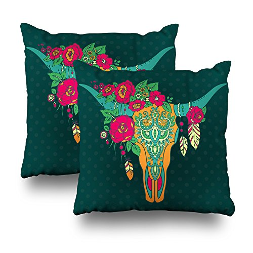 Kutita Decorativepillows Covers 18 x 18 inch Throw Pillow Covers, Ative Indian Bull Skull Ethnic Ornament Fe Rs Flowers Pattern Double-Sided Decorative Home Decor Pillowcase Sofa Bedroom Car ()