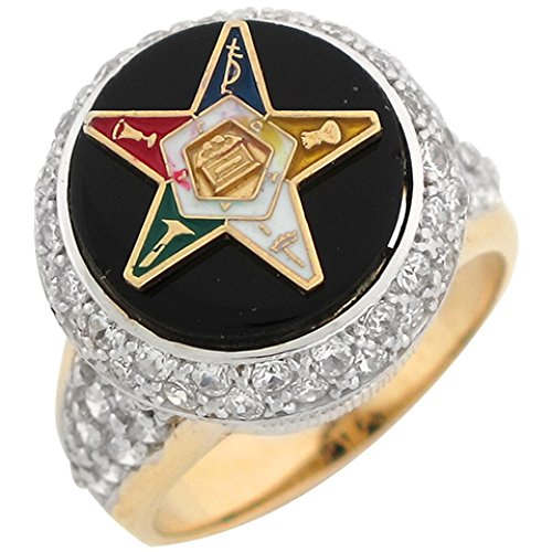 Star Enameled Gold - Jewelry Liquidation 10k Two Tone Gold CZ Cluster Onyx Enameled Eastern Star Ladies Ring