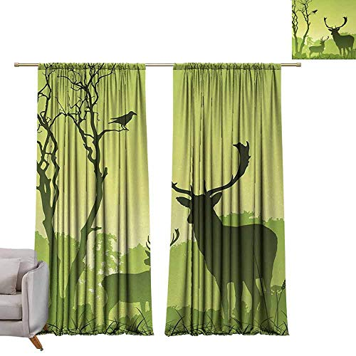 Blackout Bedroom Curtain Antlers,Male Deer on a Meadow with Trees and Crow Bird Woodland Mist Rural Green Country Print,Green W84 x L84 Grommet Drapes ()