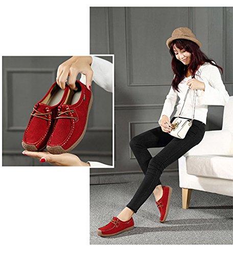 de Carrée Loafers Automne en Chaussure Chaussure Suède Enfiler Femme Mode à Bateau Loisir Confortable Tête Cheville Rouge JRenok qw76IvW4w
