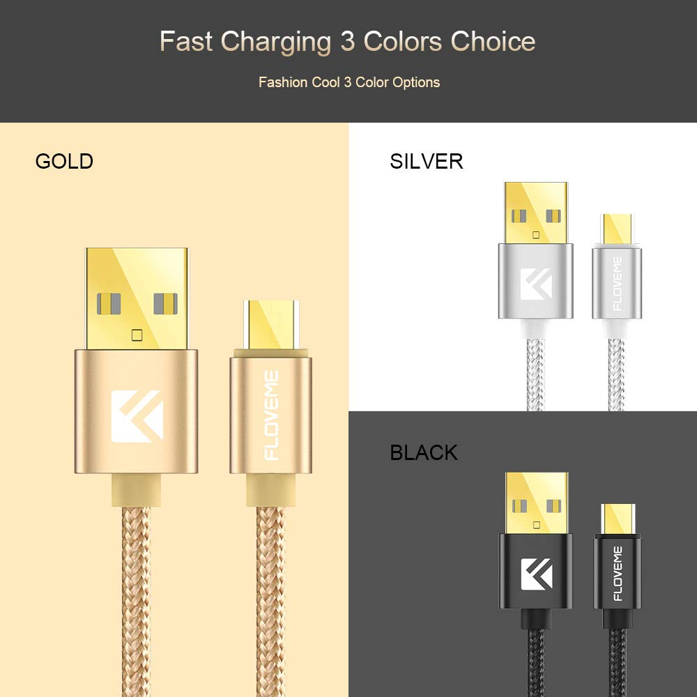USB Lightning Cables YSM Charging Cable for Android Braided Micro Data Cable,Gold